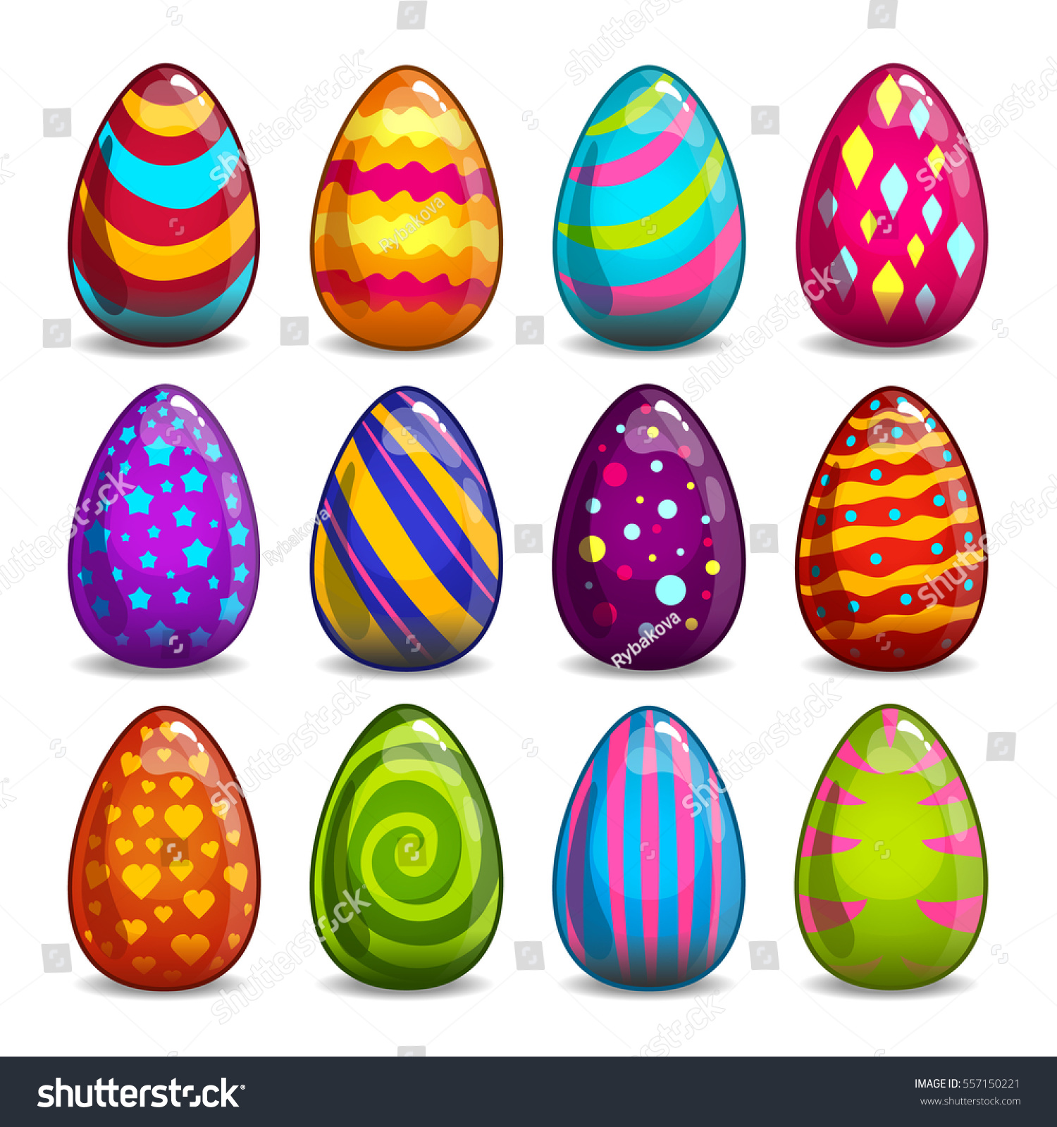 big set cartoon easter eggs stock vector 557150221 shutterstock