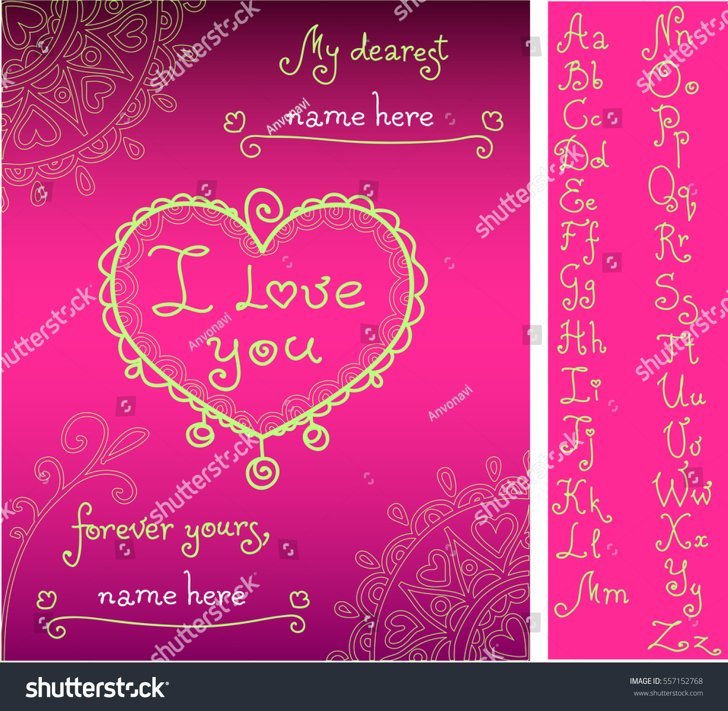 template for valentines greeting card with handwritten alphabet compose names from attached letters doodle
