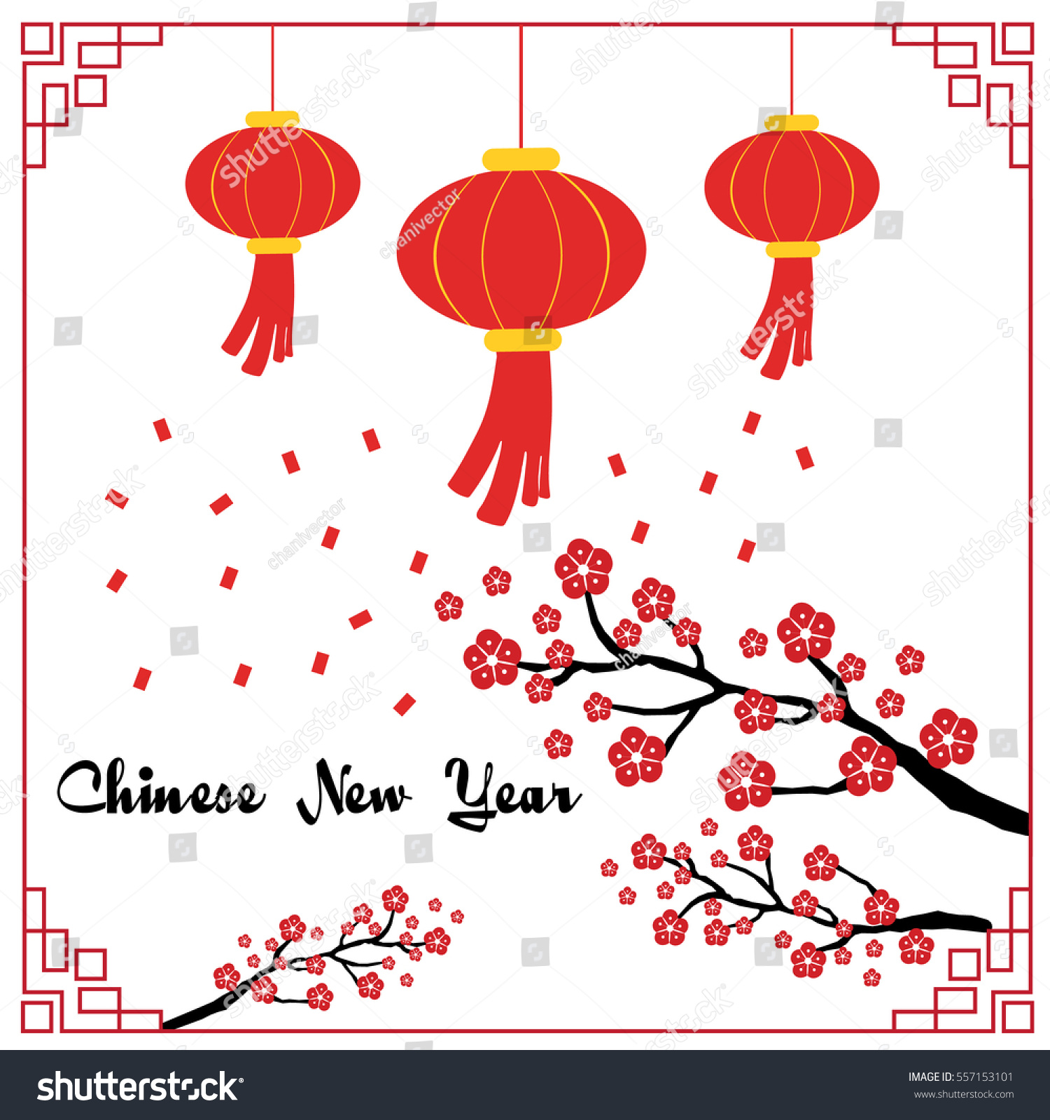 Chinese New Year Card Flowers Lantern Stock Vector (Royalty Free ...