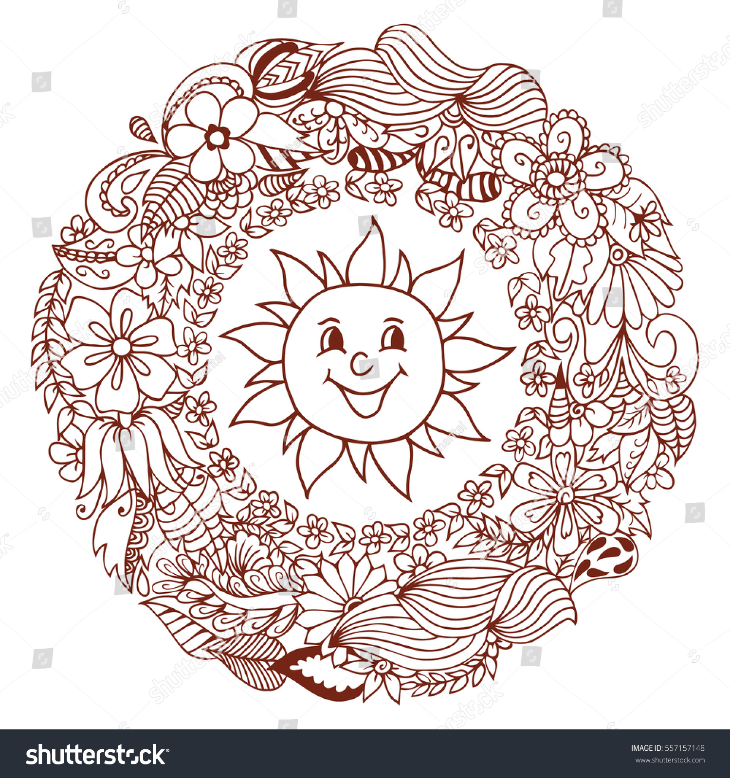 Do anti stress colouring books work - Do Anti Stress Colouring Books Work Vector Illustration Merry Sun In Frame From Flowers Work