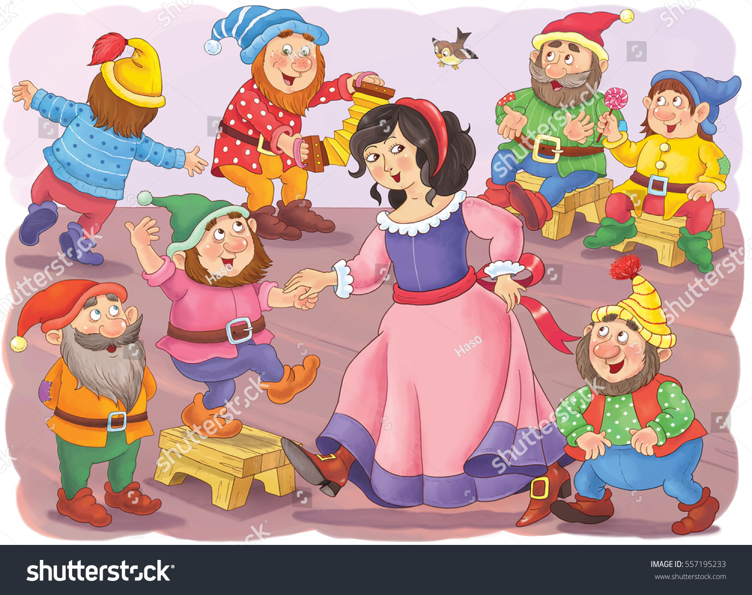 Snow White Seven Dwarfs Fairy Tale Stock Illustration 557195233 ...