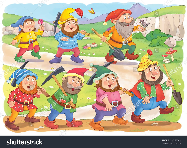 snow white seven dwarfs fairy tale stock illustration 557195245
