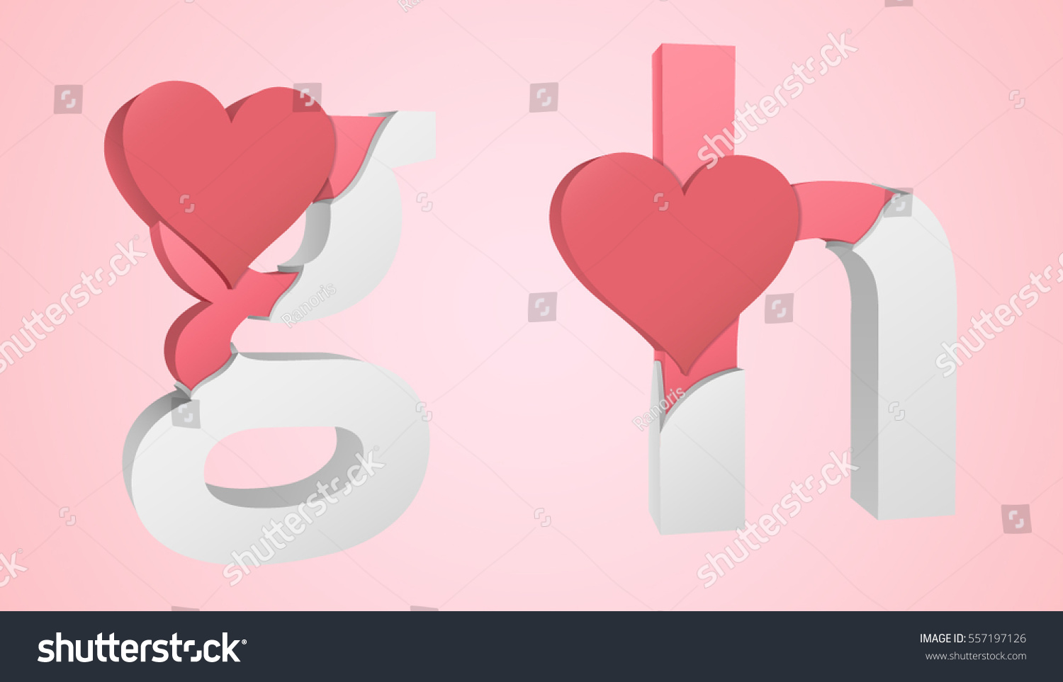 Letters G H Color Pink Inside Stock Vector (Royalty Free) 557197126 ...