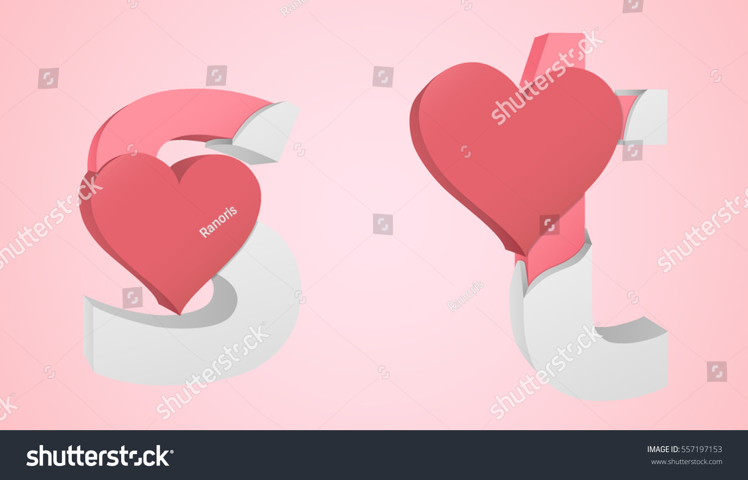 Letters S T Color Pink Inside Stock Vector (Royalty Free) 557197153 ...