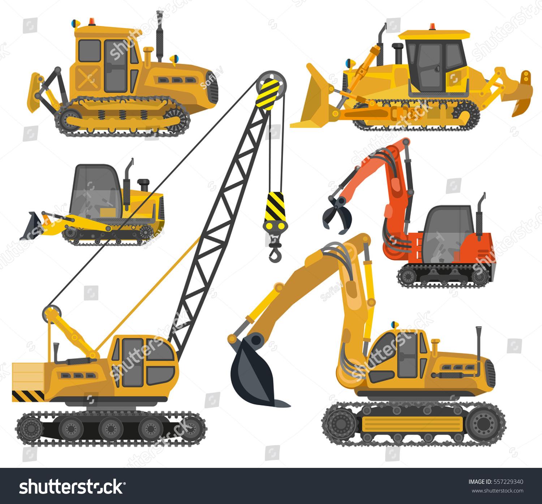 Crane Wheel Clip Art : Icons set heavy construction machinery industrial stock