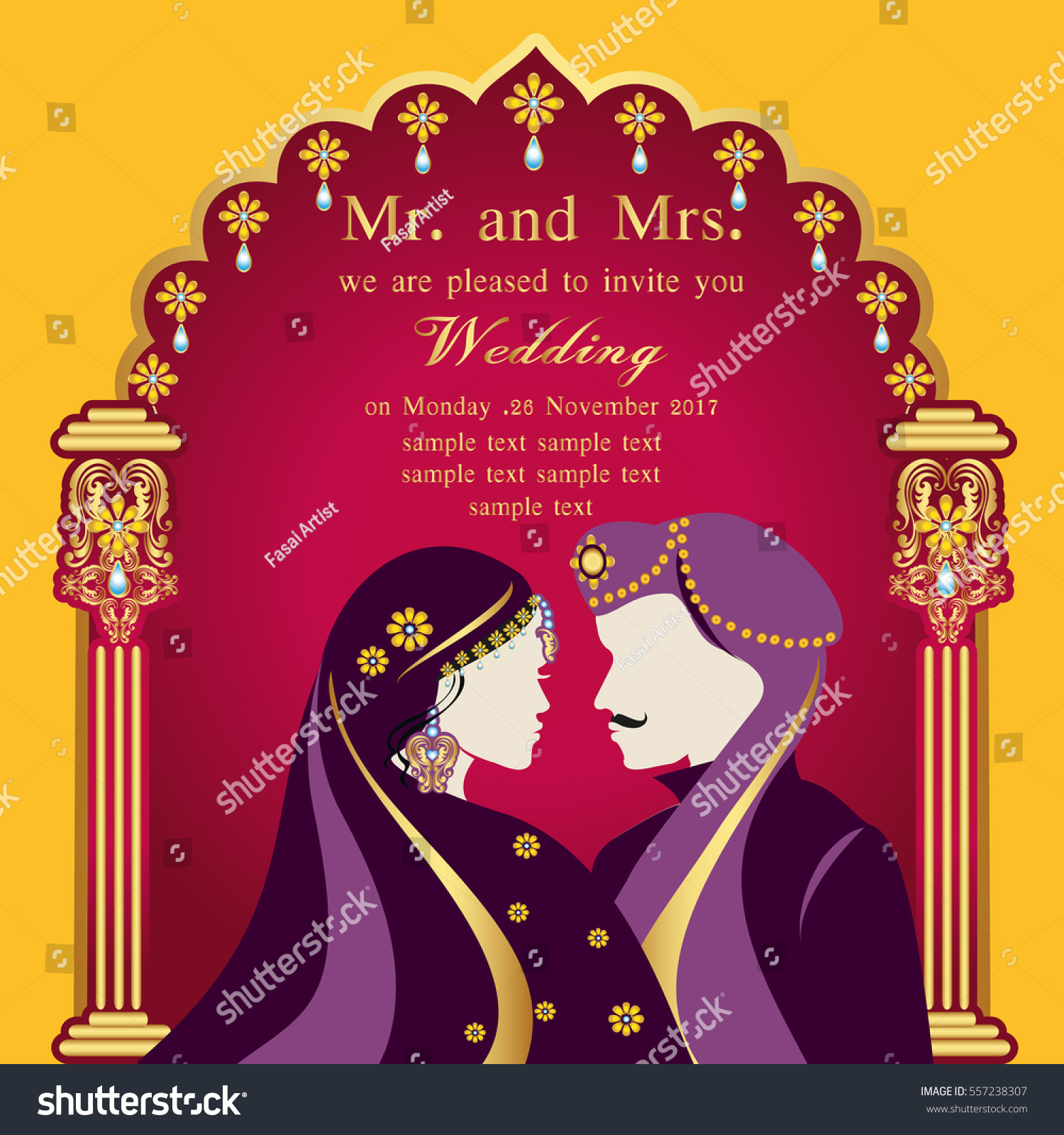 Indian Wedding Invitation Card Abstract Background Stock Vector HD ...