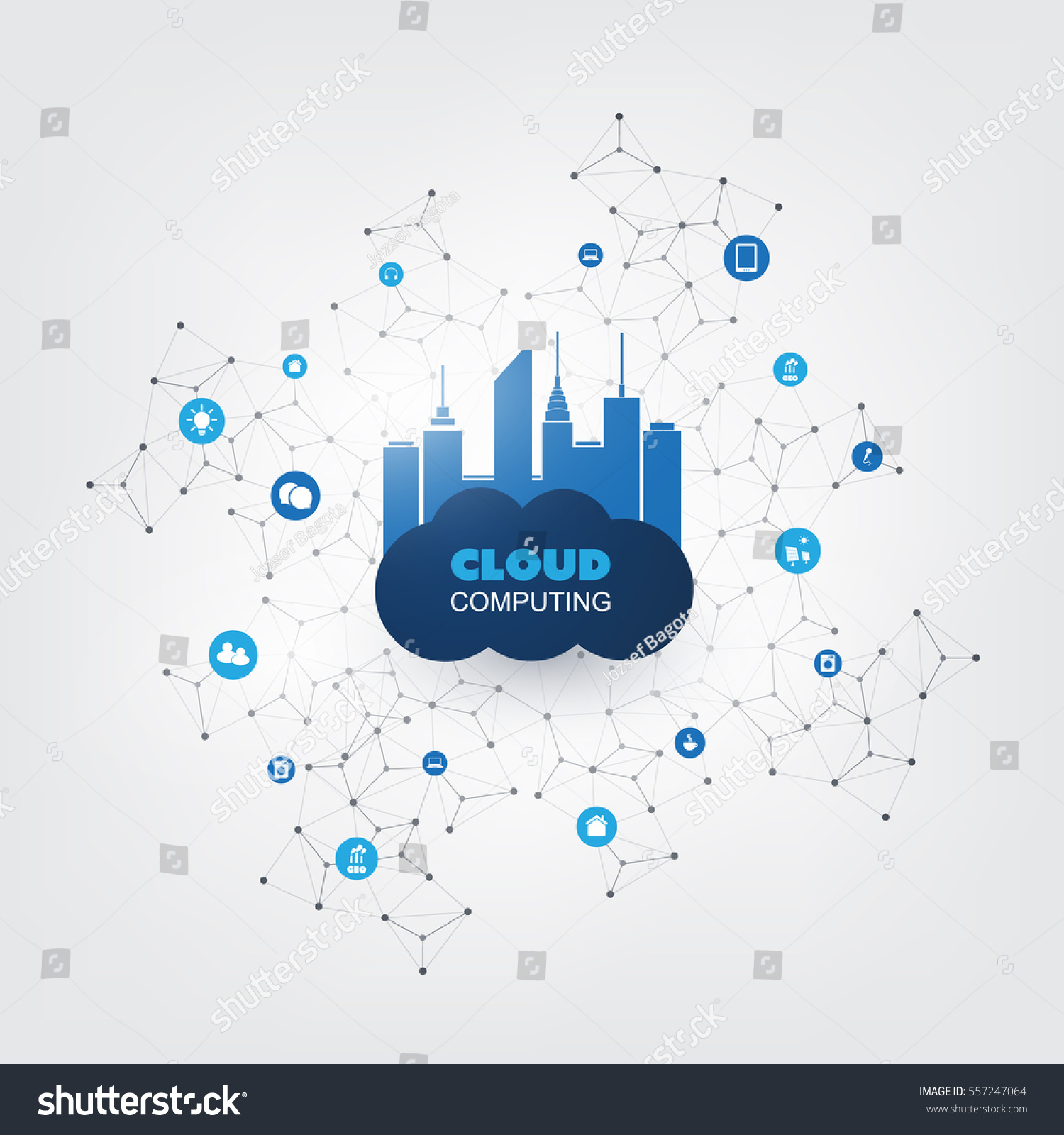 Networking Cloud Computing: Cloud Computing Design Concept Icons Digital Stock Vector
