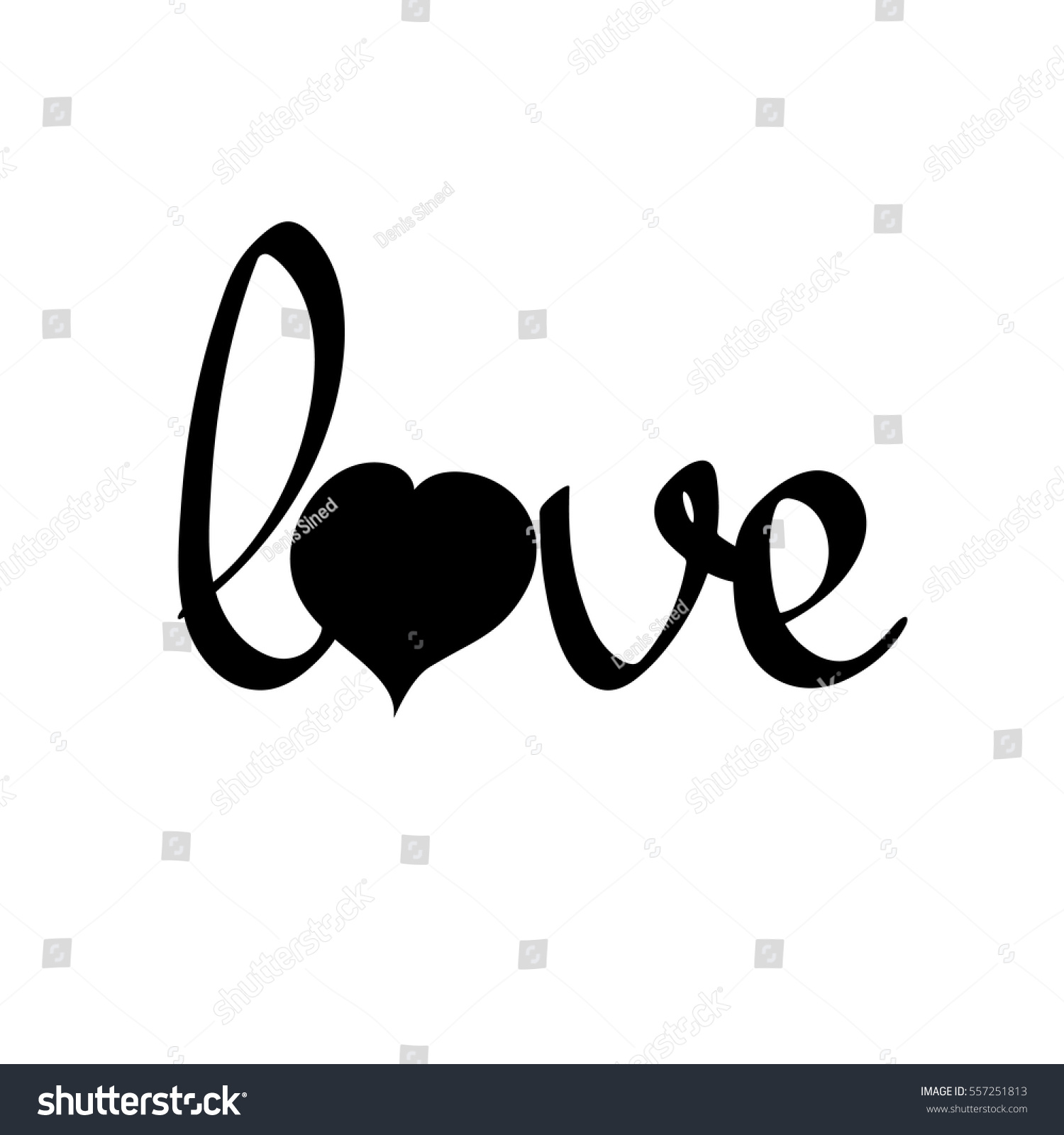 Love Isolated Calligraphy Lettering Word Design Stock