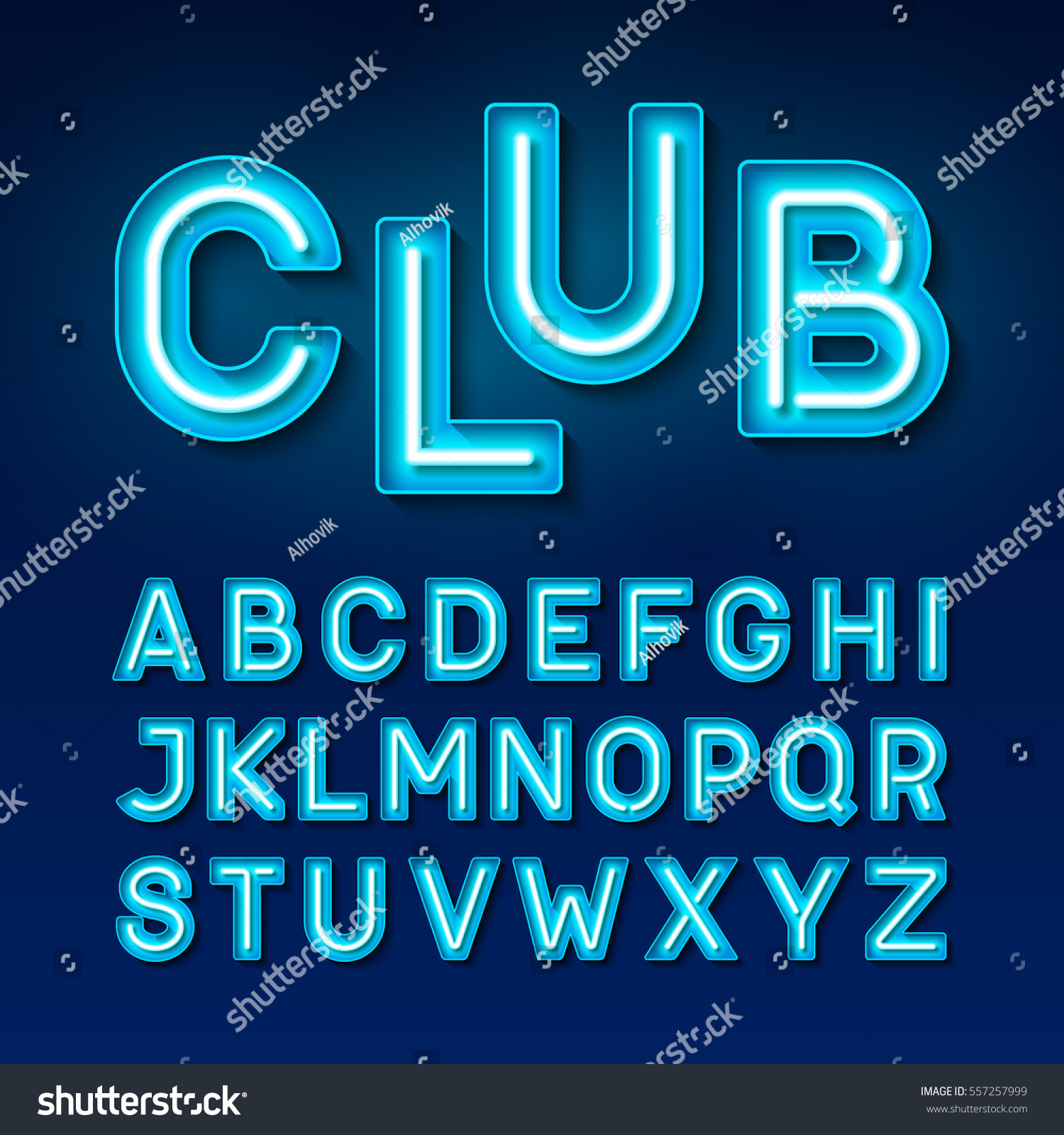 Night Club Neon Font Broadway Style Vectores En Stock 557257999 ...