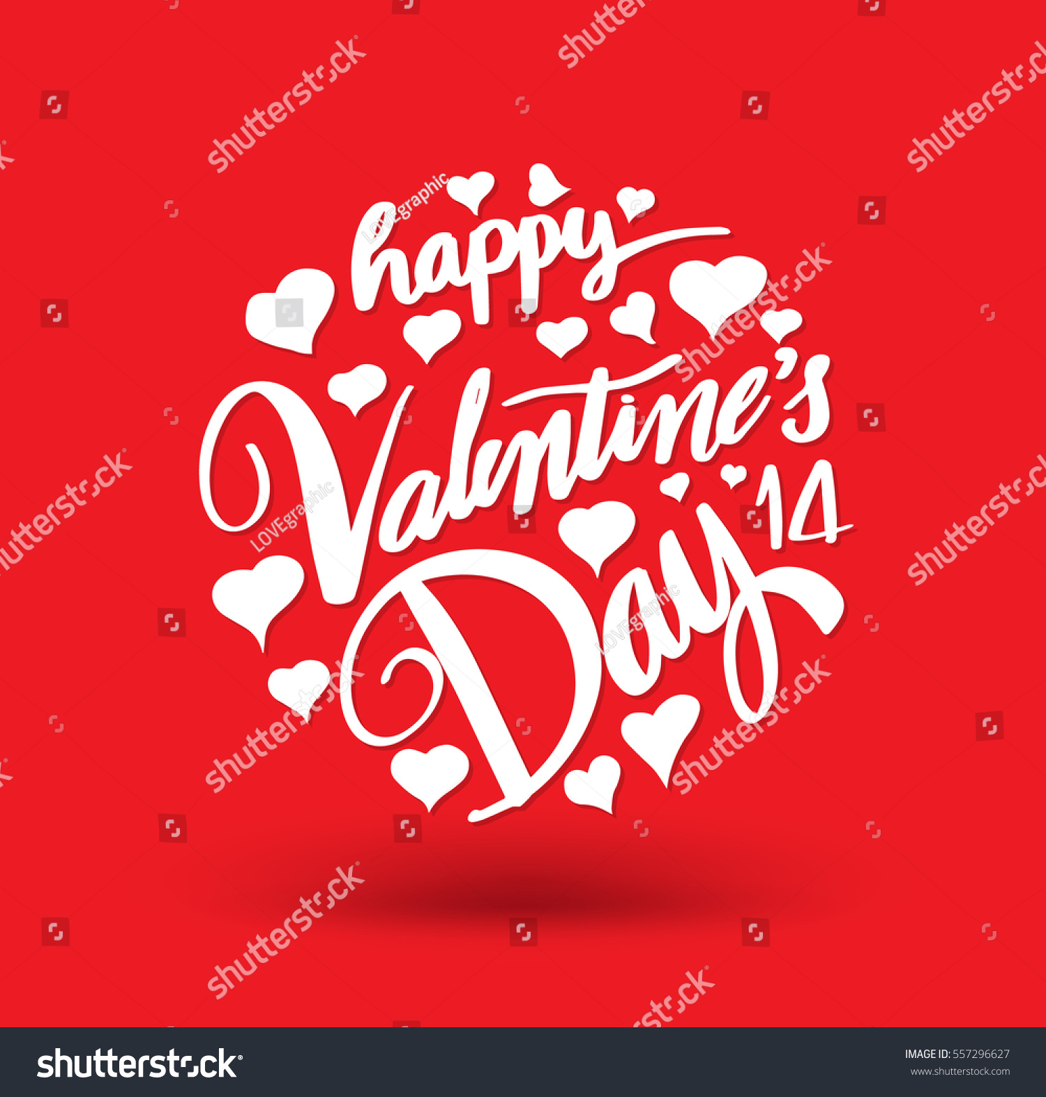 happy valentines day lettering circle hand stock vector 557296627