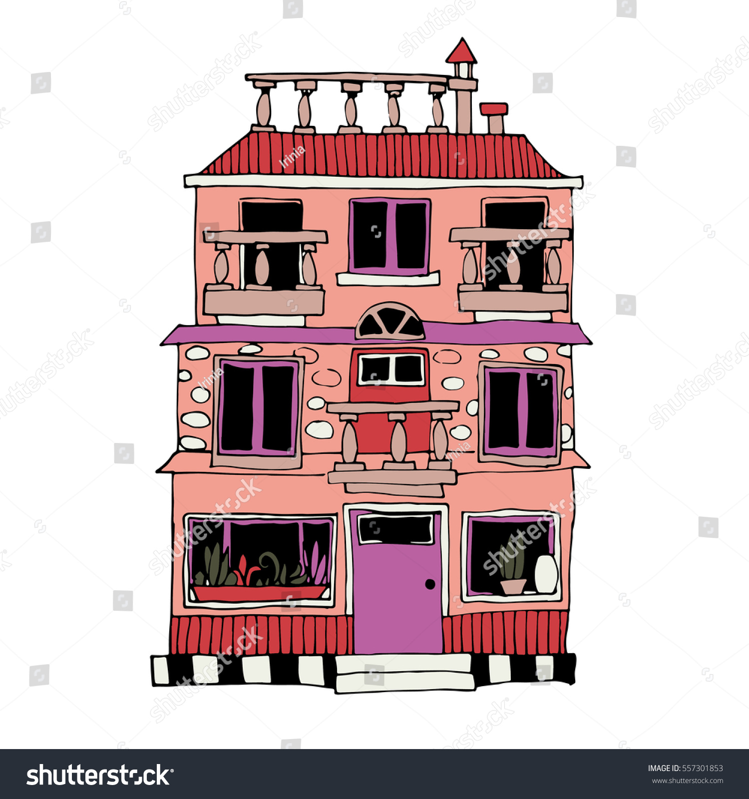 Color Drawing By Hand Small House Stock Vector (Royalty Free ...