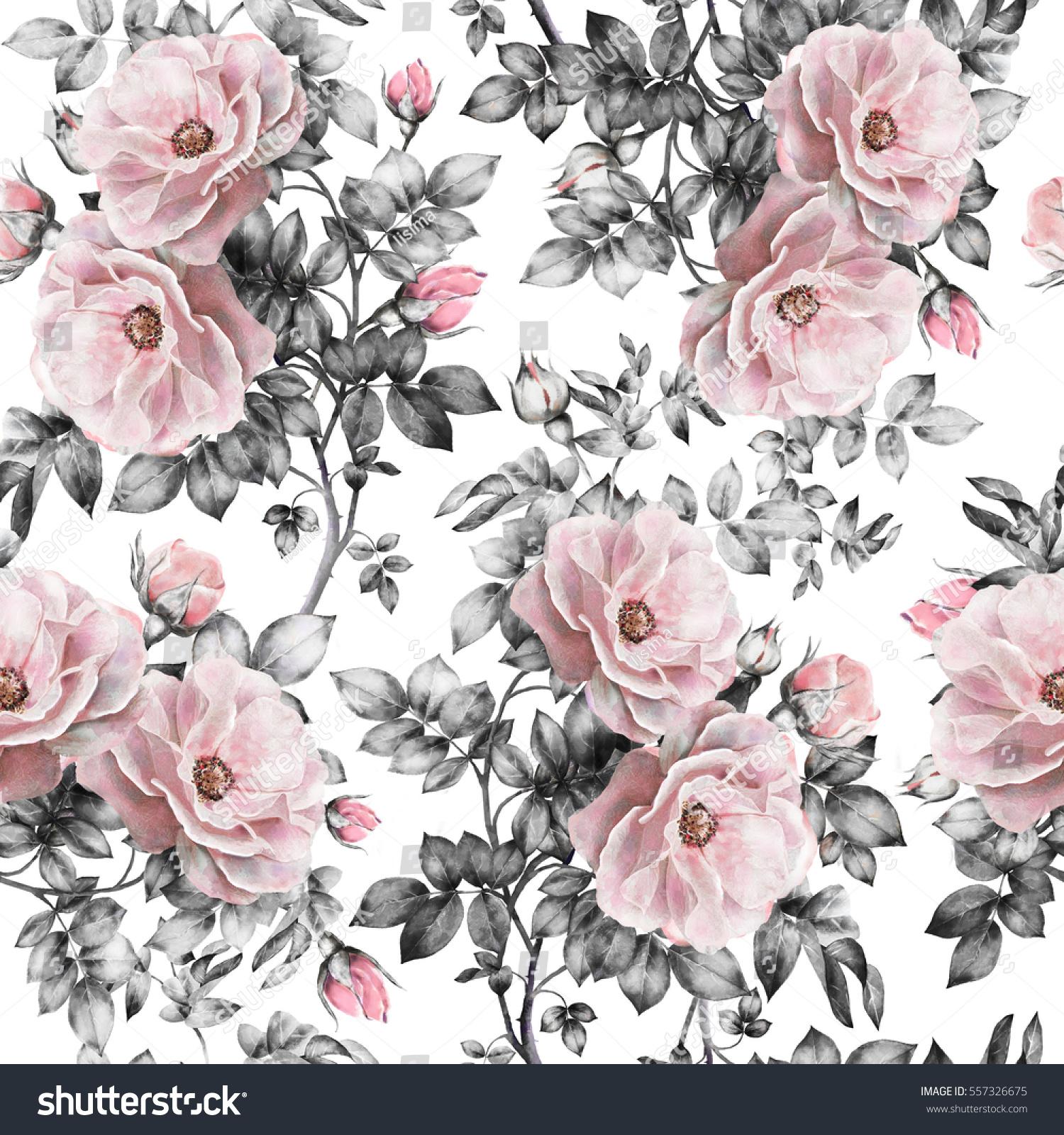 Seamless Pattern Pink Flowers Leaves On 557326675