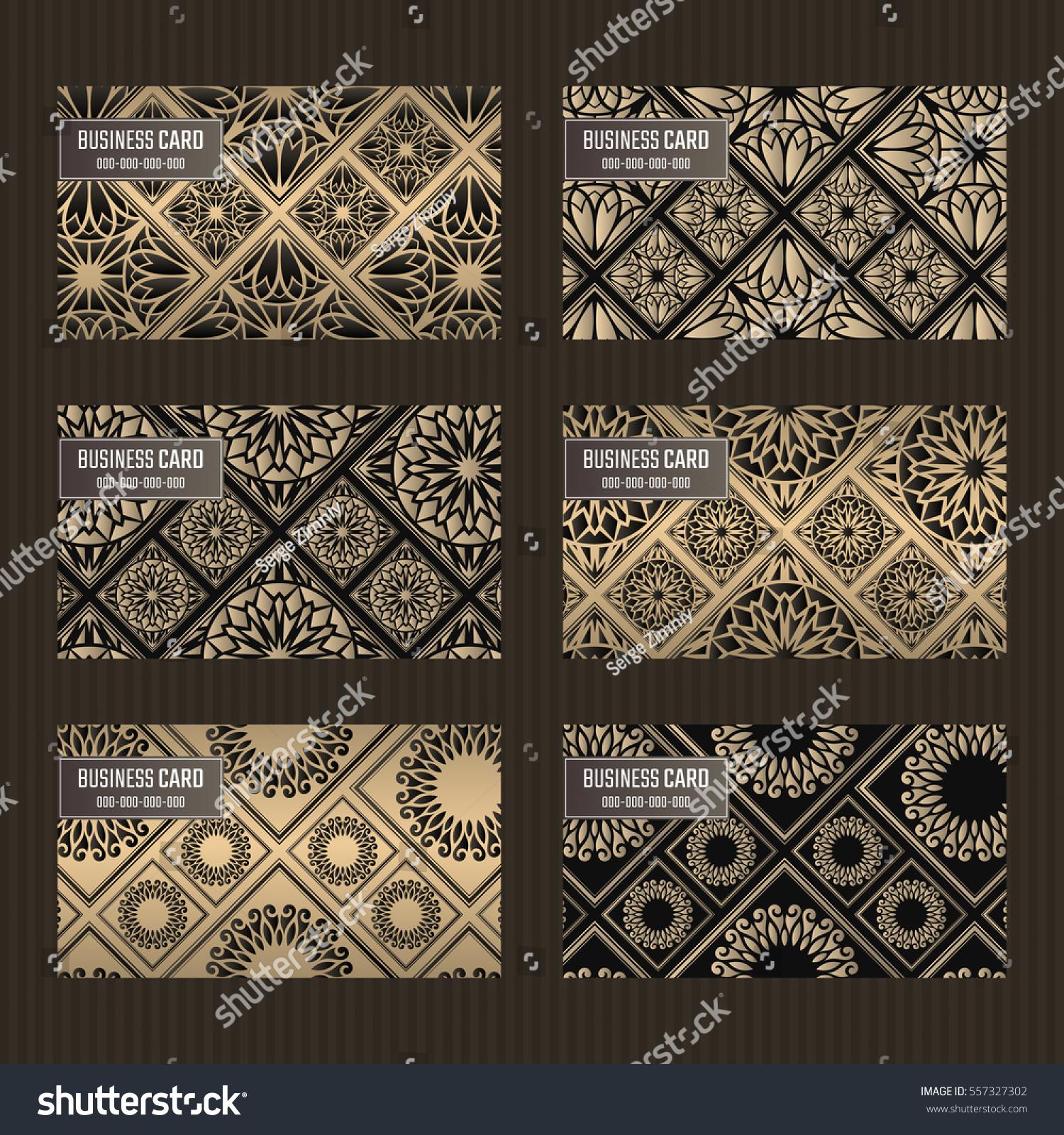 Business Card Set Golden Foil Decorative Stock Vector (2018 ...
