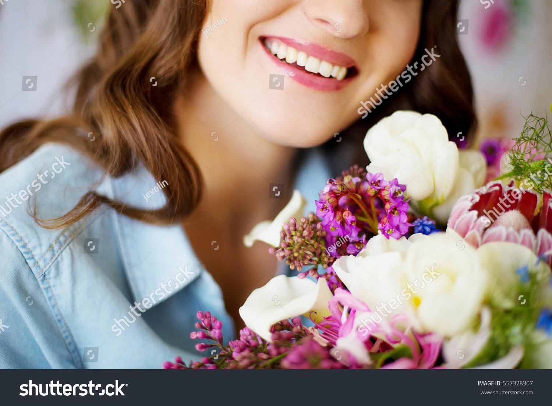 Girl Smiles Beautiful Smile White Teeth Stock Photo Edit Now