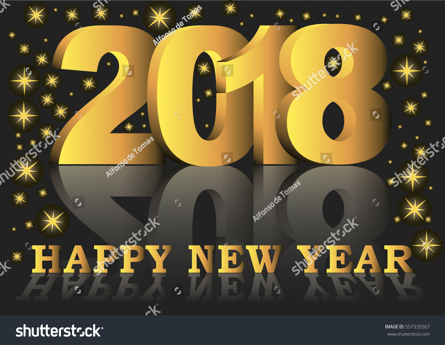 Happy New Year 2018 Greeting Card With Golden Numbers And