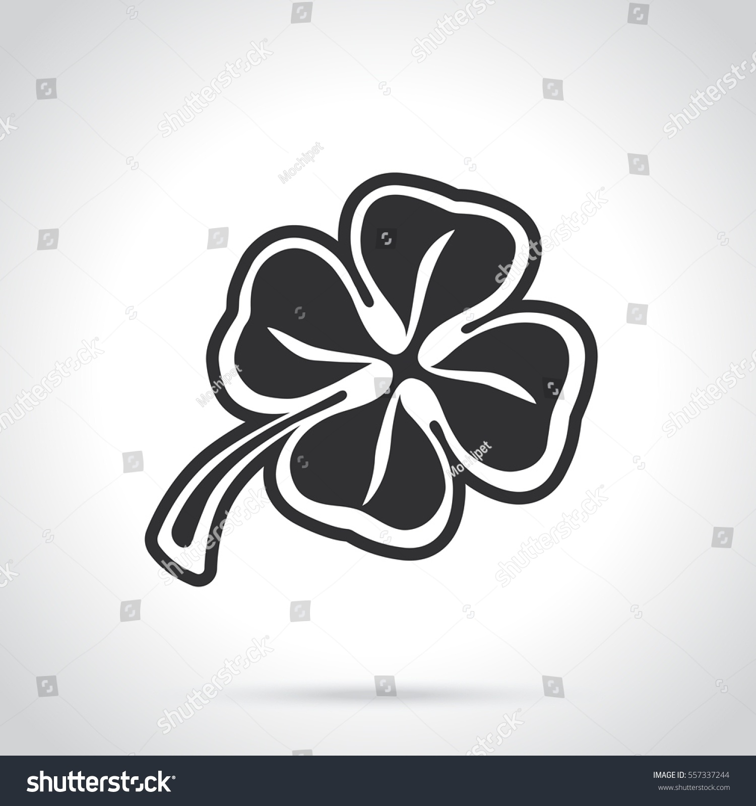 Vector Illustration Silhouette Of Four Leaf Clover Lucky