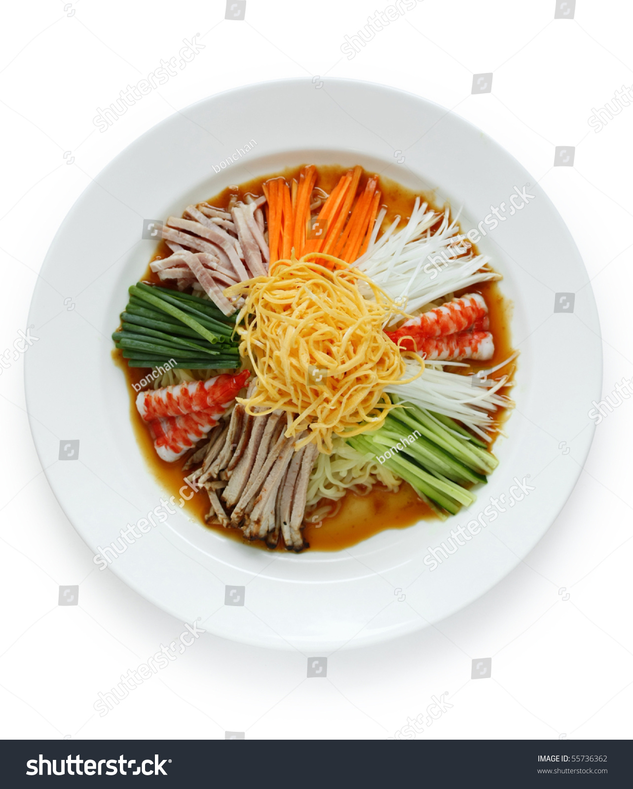 Hiyashi Chuka , Japanese Cold Noodles Salad Stock Photo ...