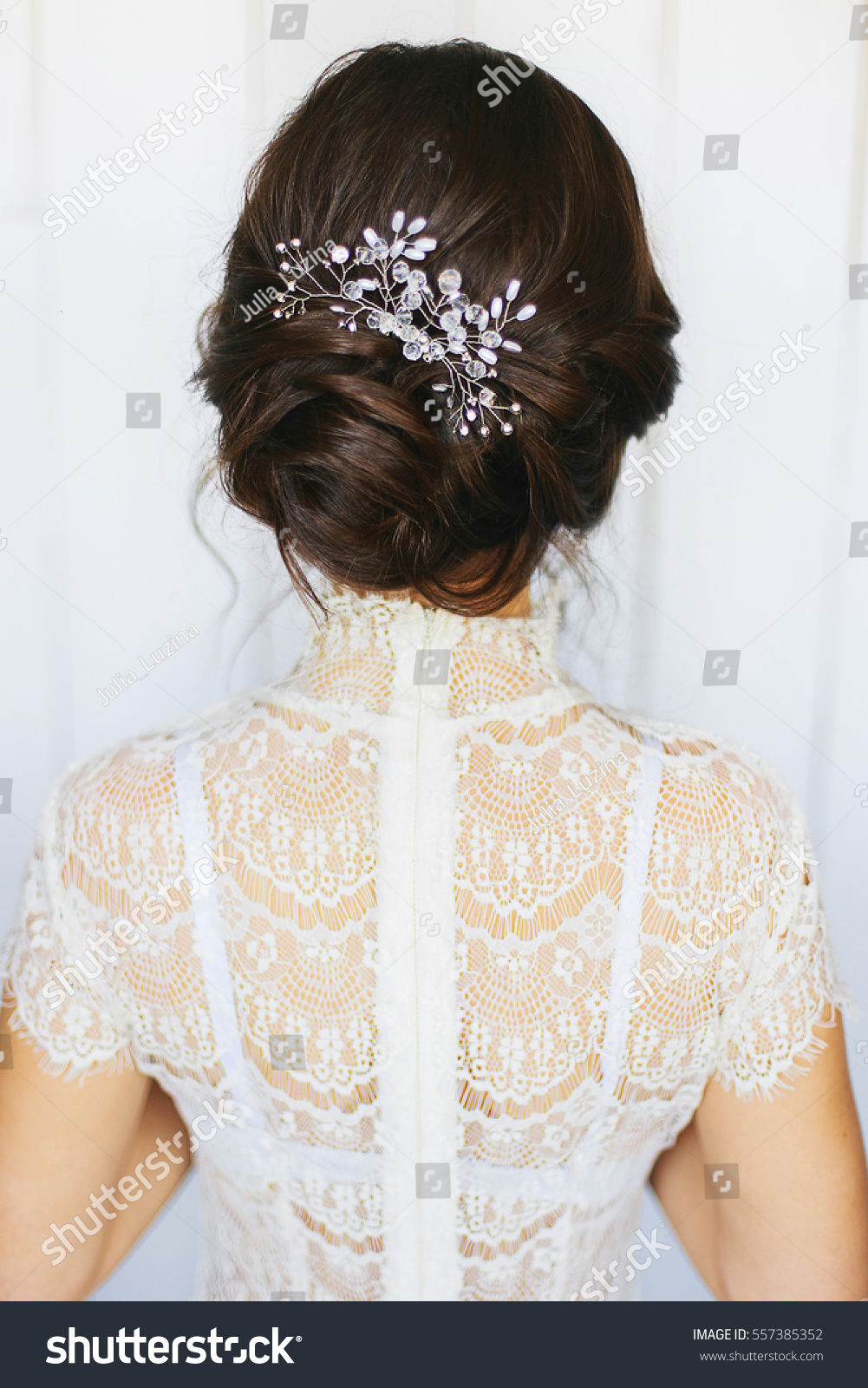 Tender Wedding Stylish Hairstyle Accessories Elegant Stock Photo ...