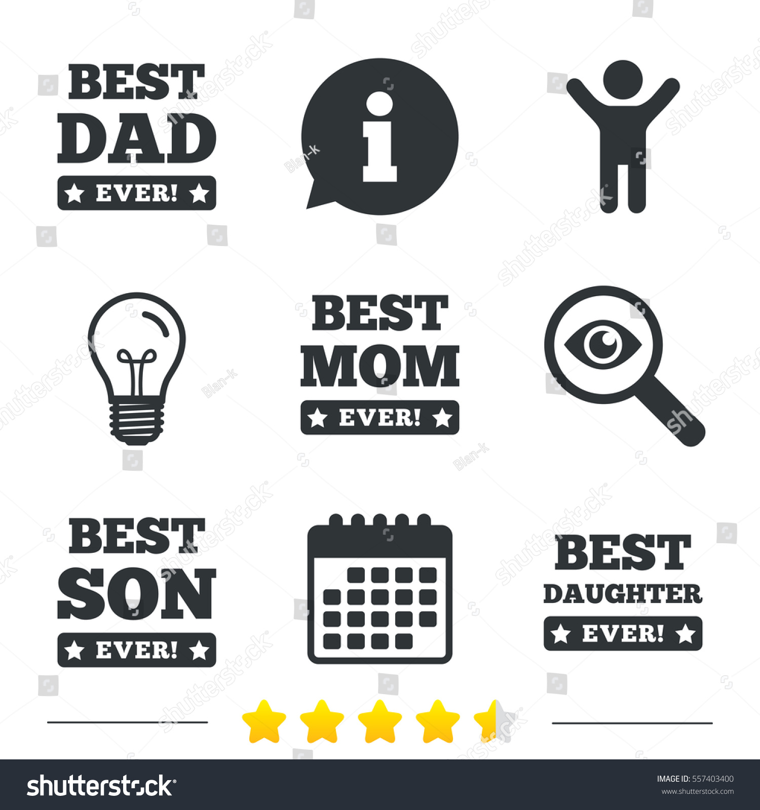 Best Mom Dad Son Daughter Icons Stock Illustration 557403400