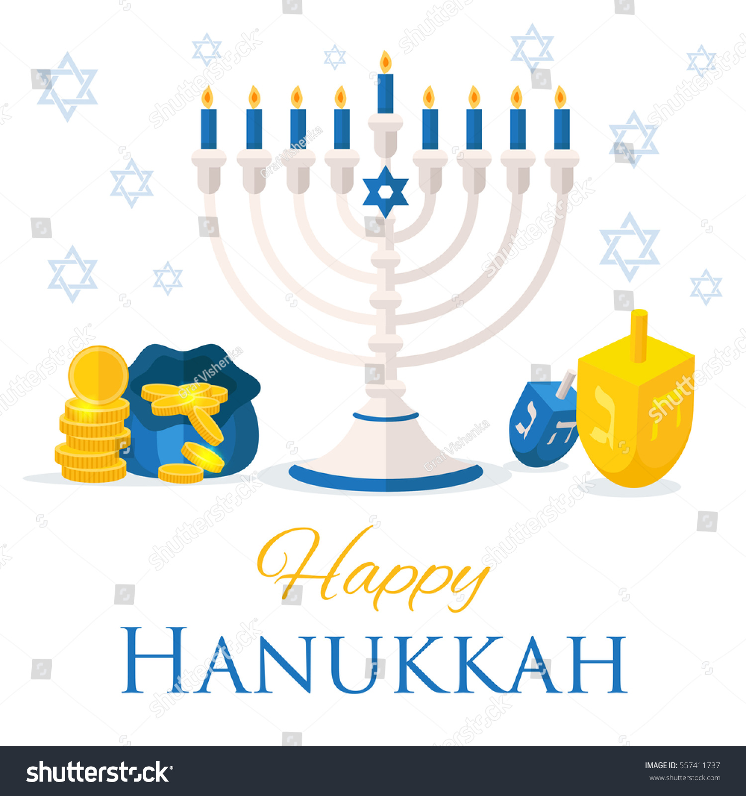 Holiday Hanukkah Web Banner Jewish Symbols Stock Vector Royalty
