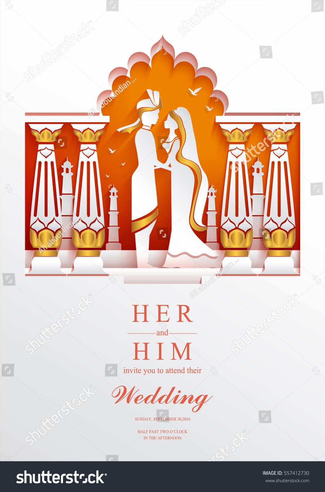 Indian Wedding Invitation Card Templates With Paper Art And Craft Style On Color