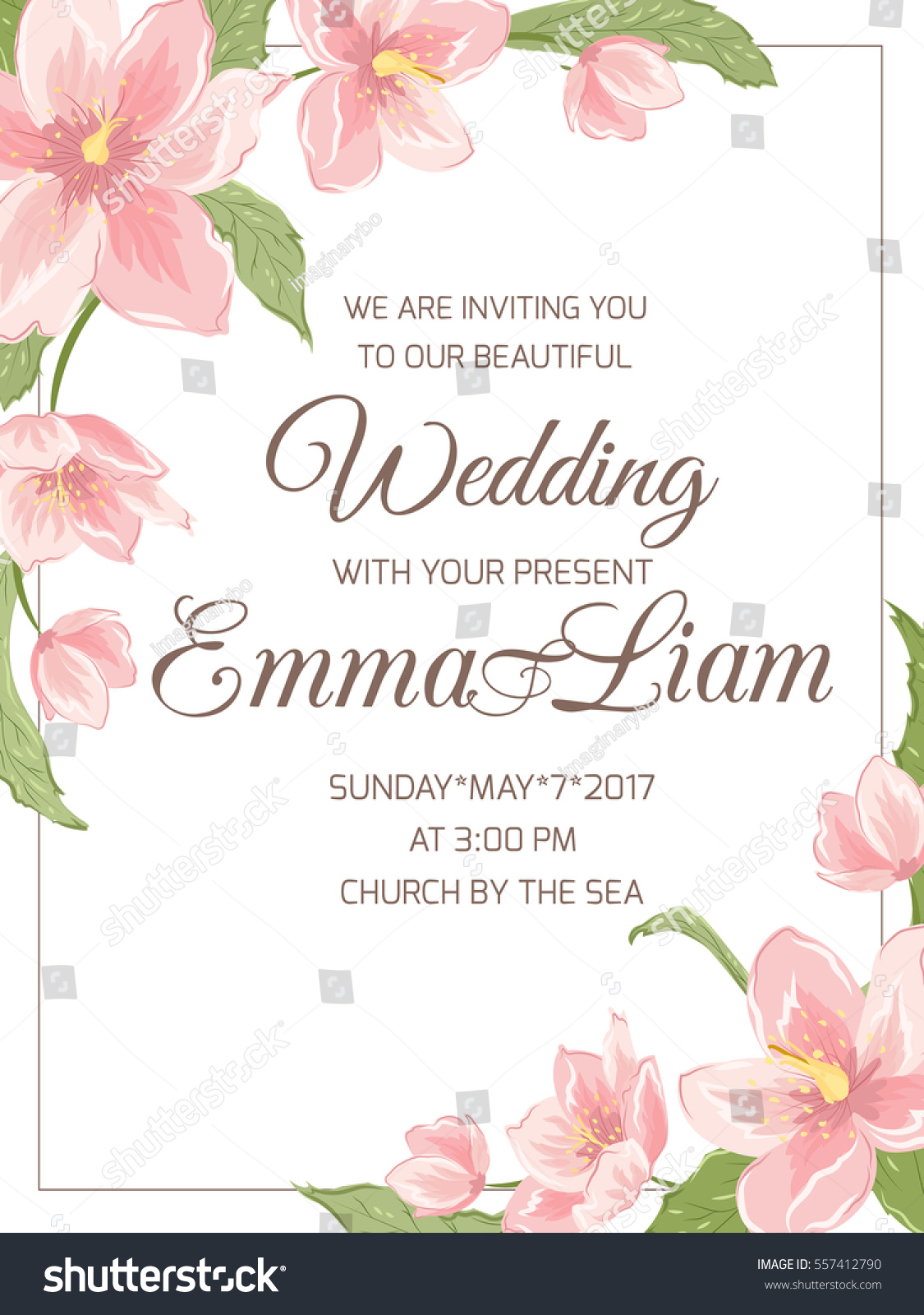 wedding marriage invitation card template rsvp stock vector 557412790 shutterstock. Black Bedroom Furniture Sets. Home Design Ideas