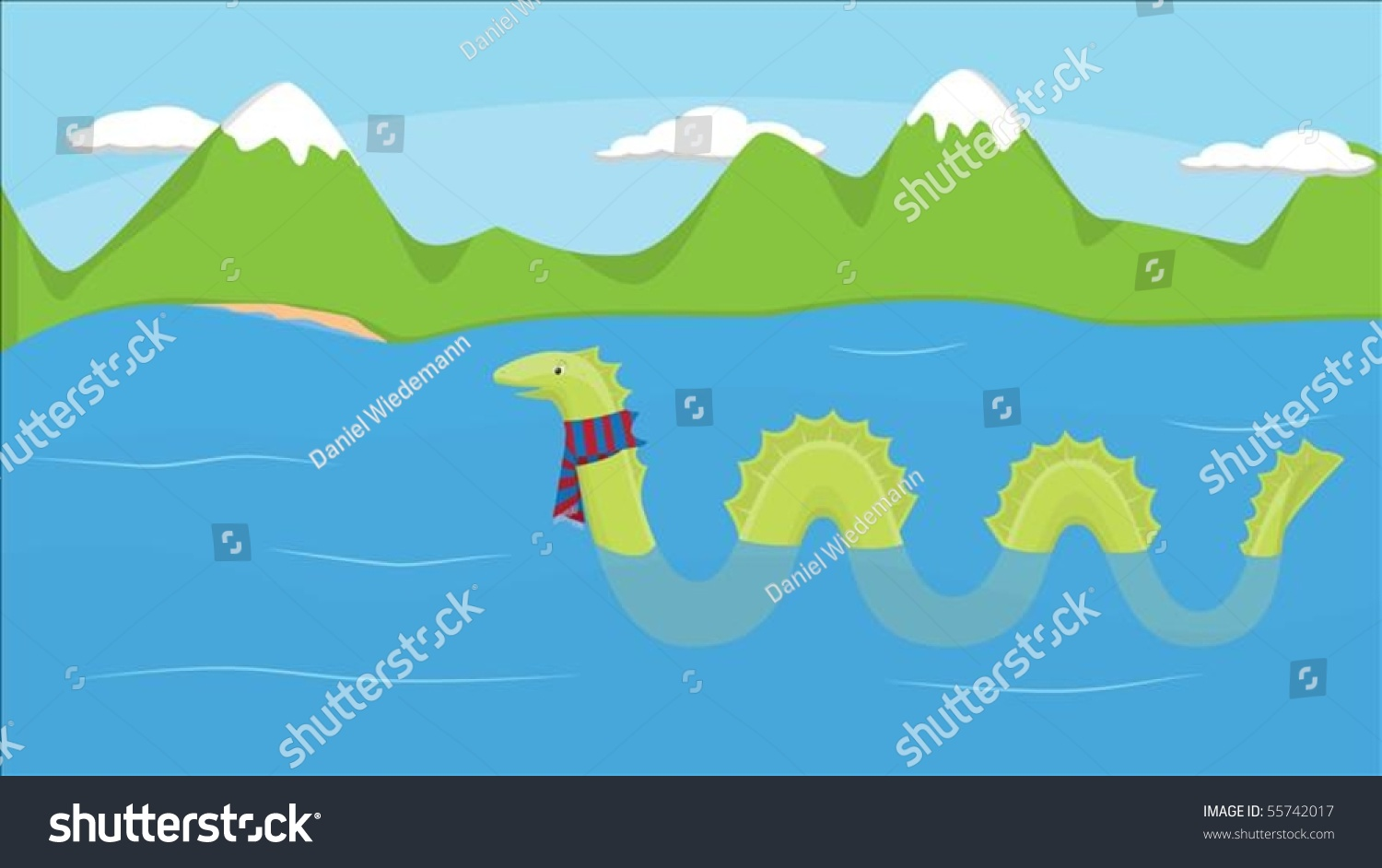 nessie cold loch ness scotland editable stock vector 55742017