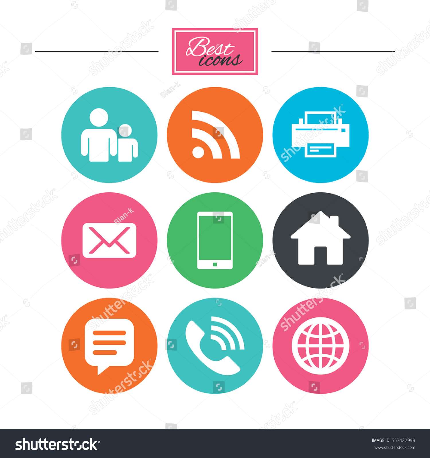 Contact Mail Icons Communication Signs Email Stock Illustration