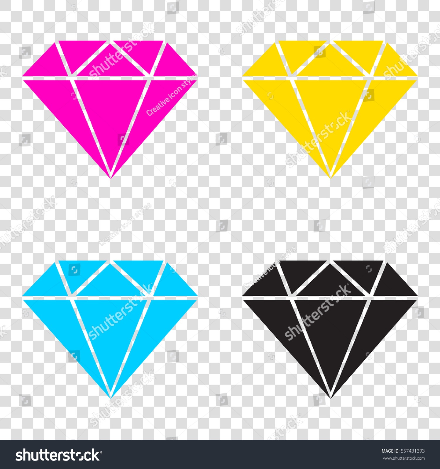 a7ca62088180 Diamond Sign Illustration CMYK Icons On Stock Vector (Royalty Free ...