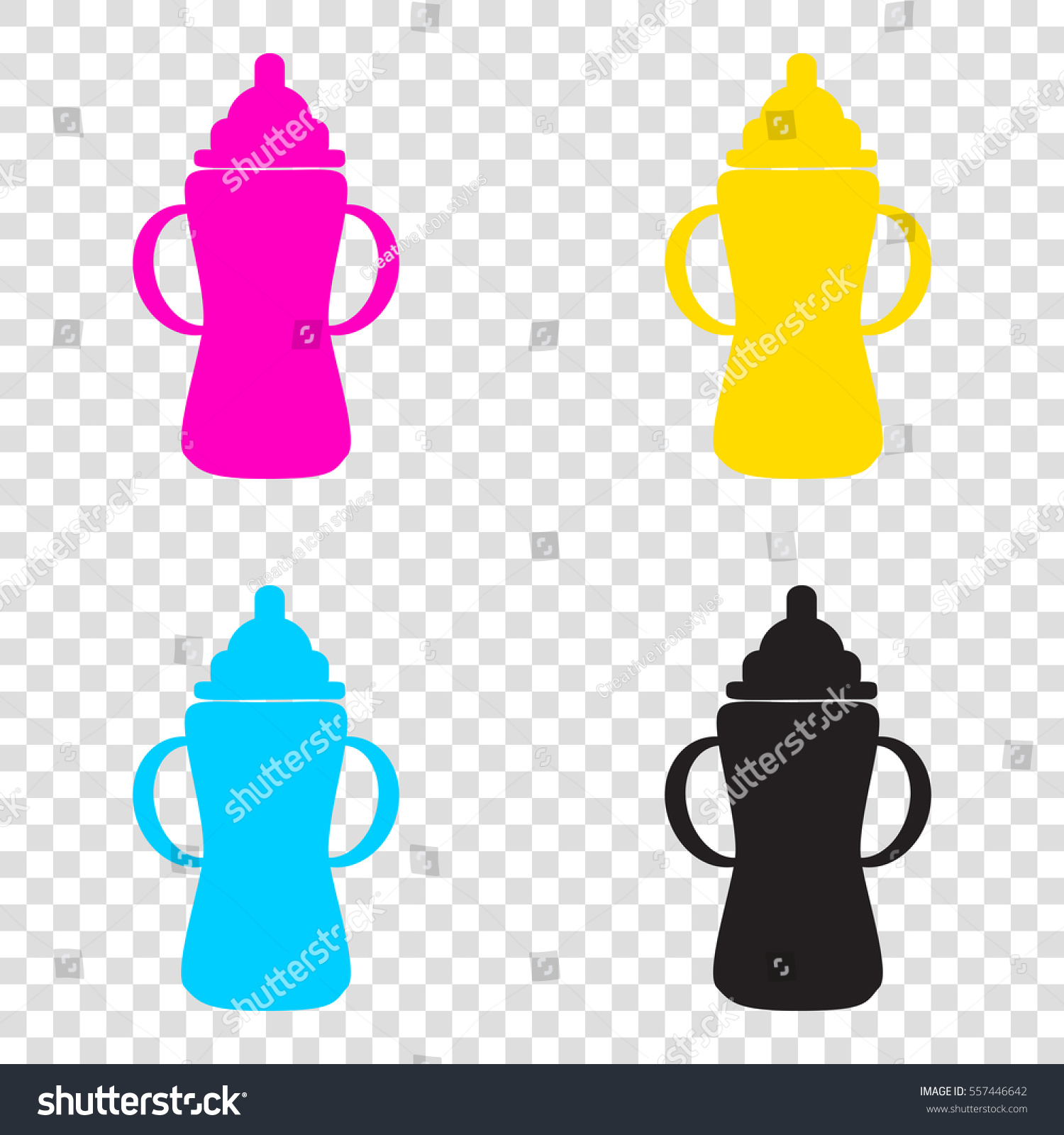 fbba53bb62ad Baby Bottle Sign CMYK Icons On Stock Vector (Royalty Free) 557446642 ...