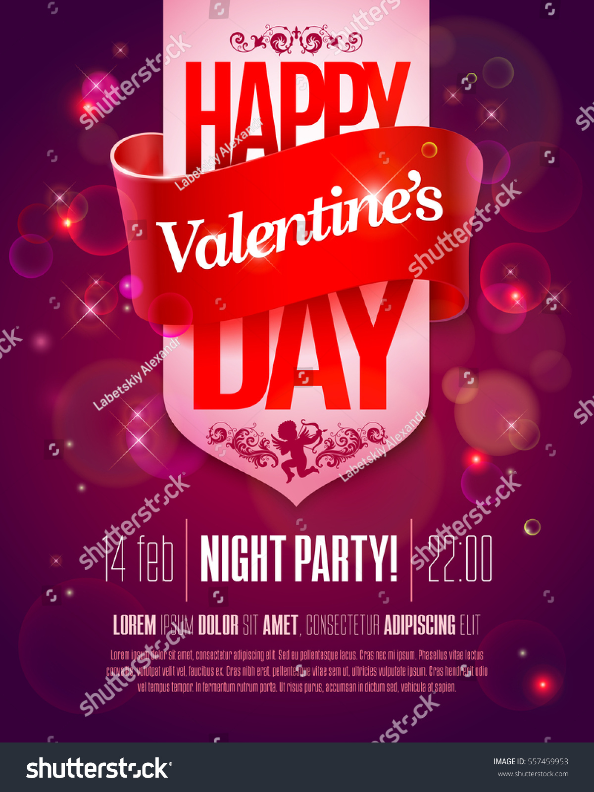 valentines day party flyer hand made stock vector royalty free