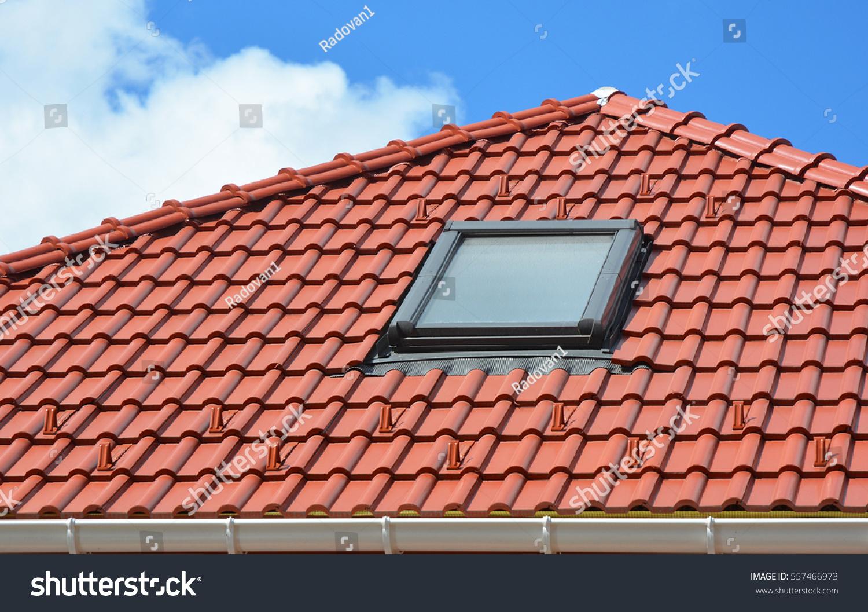 Skylight On Red Ceramic Roof Tiles. Modern Attic Roof Skylight. Attic  Skylights Home Design