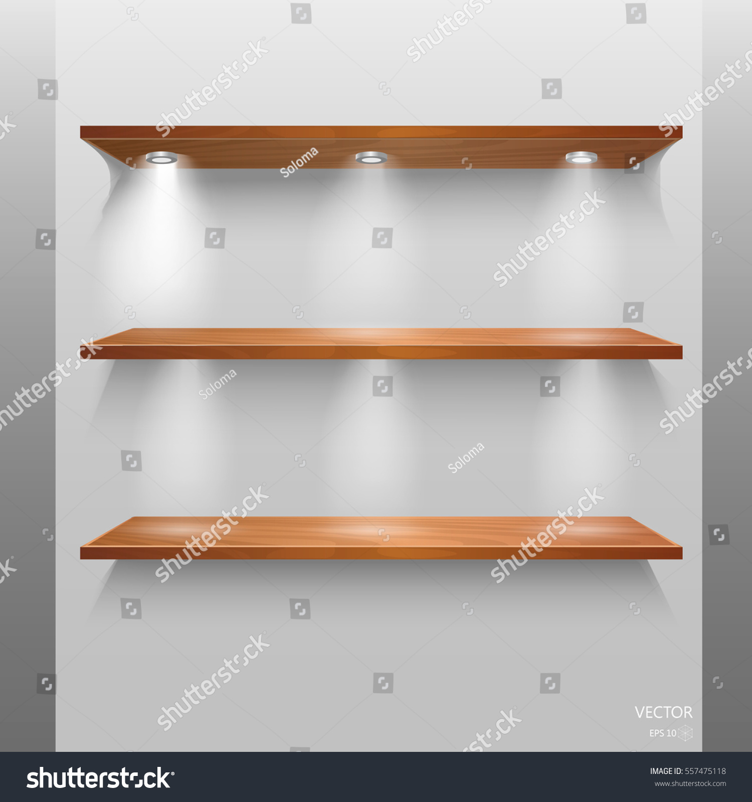 Interior wooden shelves free vector - Vector Empty Wooden Shelves Isolated On Wall Background