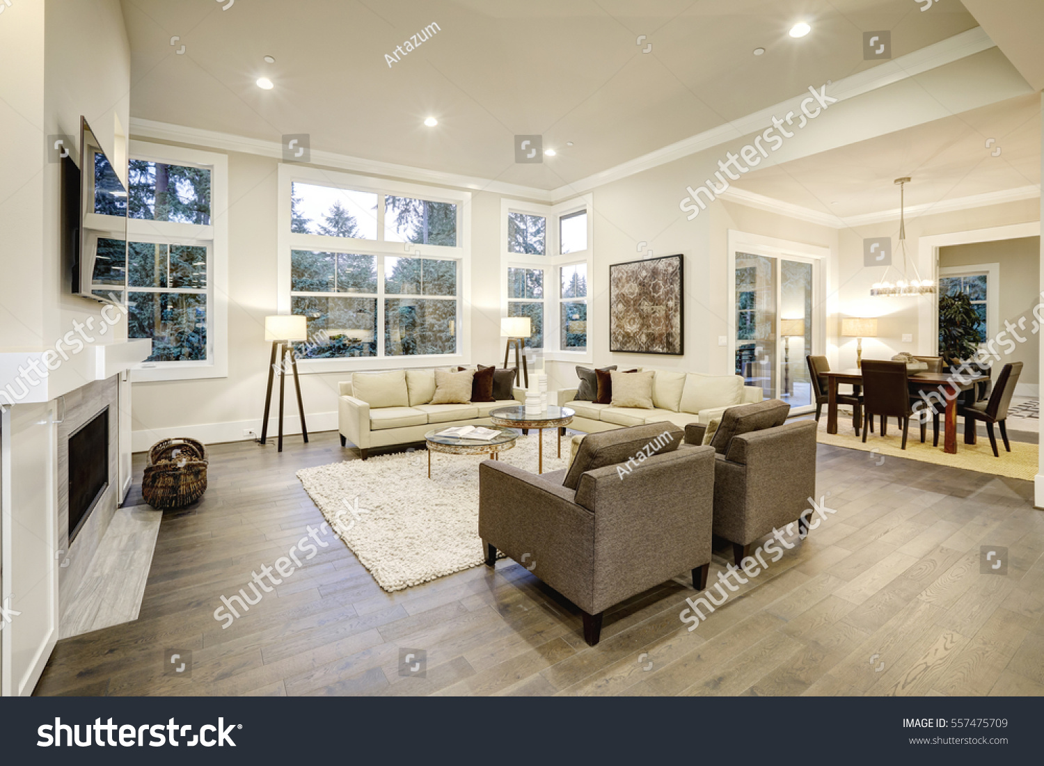 Chic Light Living Room Design Dark Stock Photo & Image (Royalty-Free ...