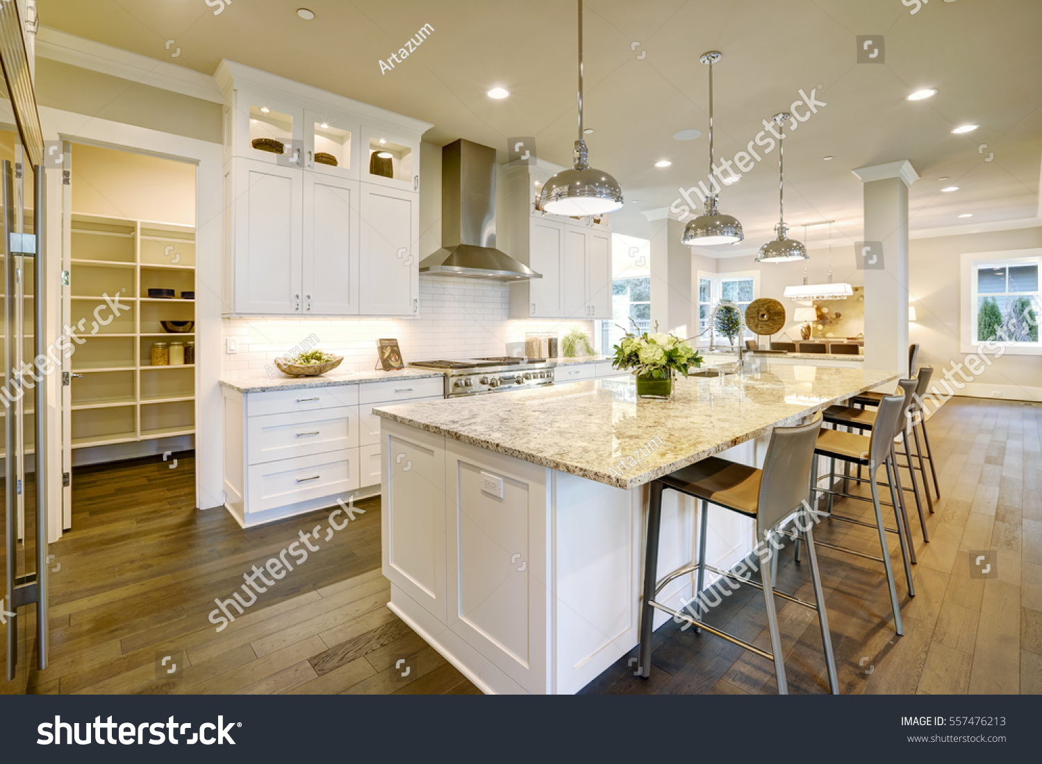 White Kitchen Design Features Large Bar Stock Photo (Edit Now ...
