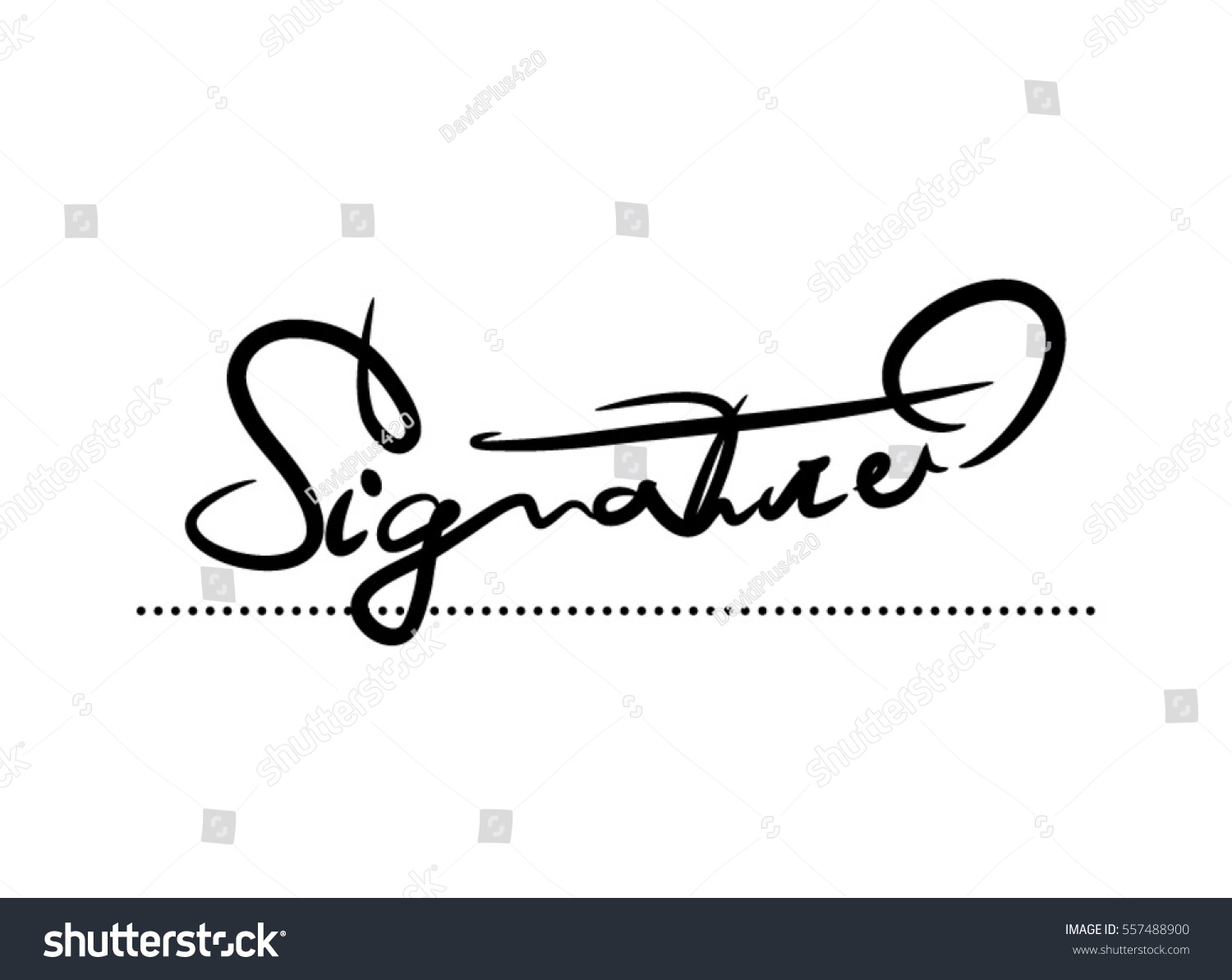 Signature Vector Calligraphy Template Image Vectorielle De Stock