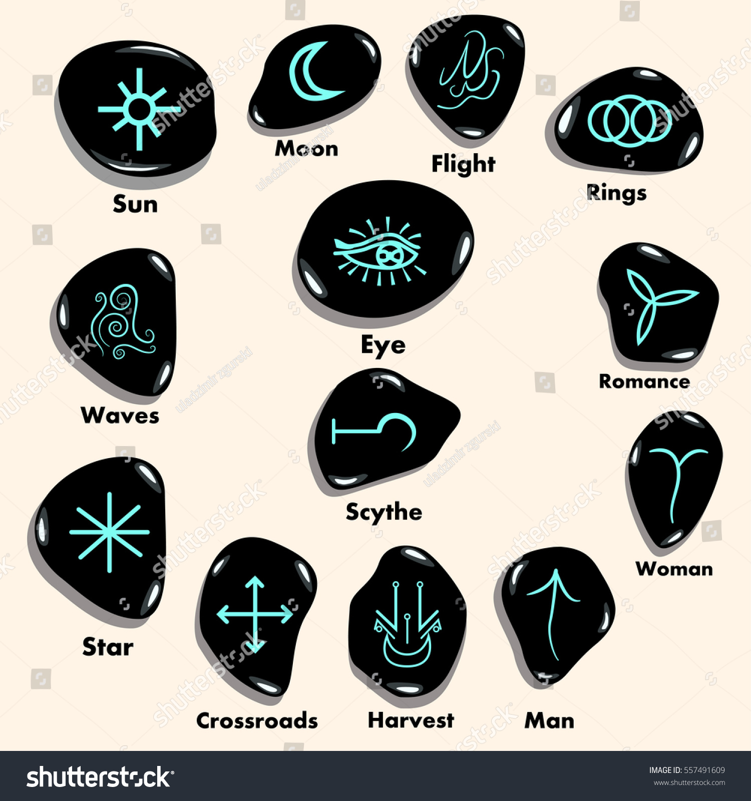 Set Witches Runes Wiccan Divination Symbols Stock Vector Royalty