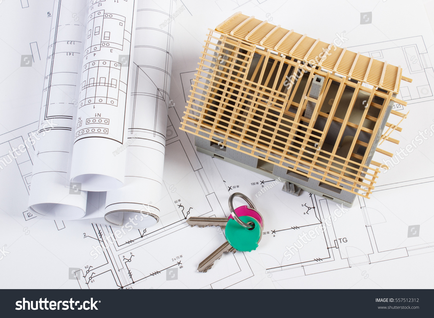Home Keys Small House Under Construction Stock Photo Edit Now Electrical Diagram L N And Rolls Of Diagrams On Drawings For Project