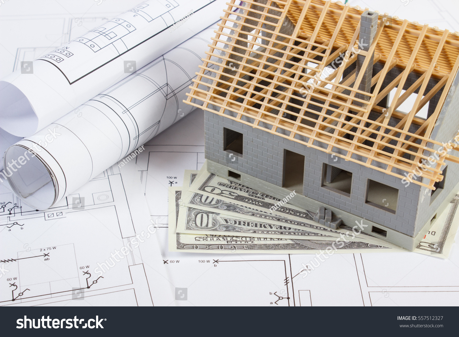 Small House Under Construction Currencies Dollar Stock Photo (Edit ...