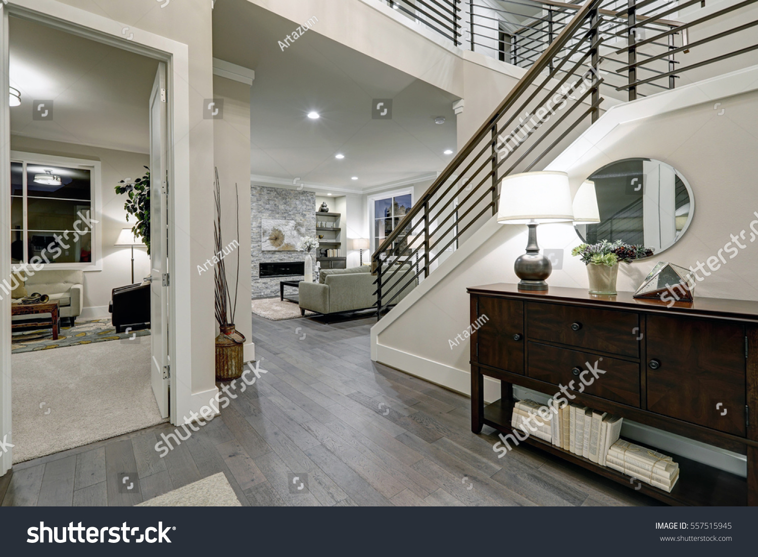 Foyer And Entryways Usa : Open plan entryway new construction home stock photo