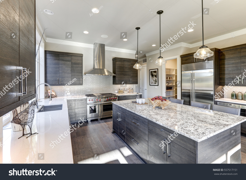 Modern Gray Kitchen Features Dark Gray Stockfoto Jetzt Bearbeiten