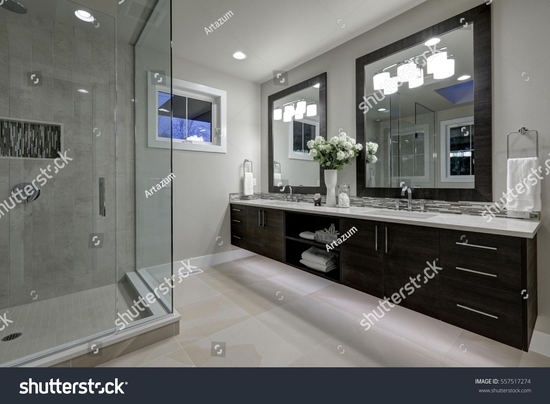Amazing Gray Master Bathroom Large Glass Stock Photo