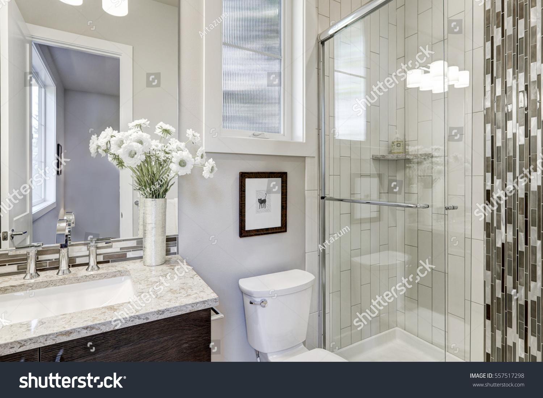 Glass Walkin Shower White Subway Tiled Stock Photo (Edit Now ...
