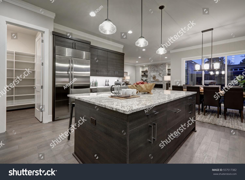 Modern Open Plan Gray Kitchen Features Stock Photo
