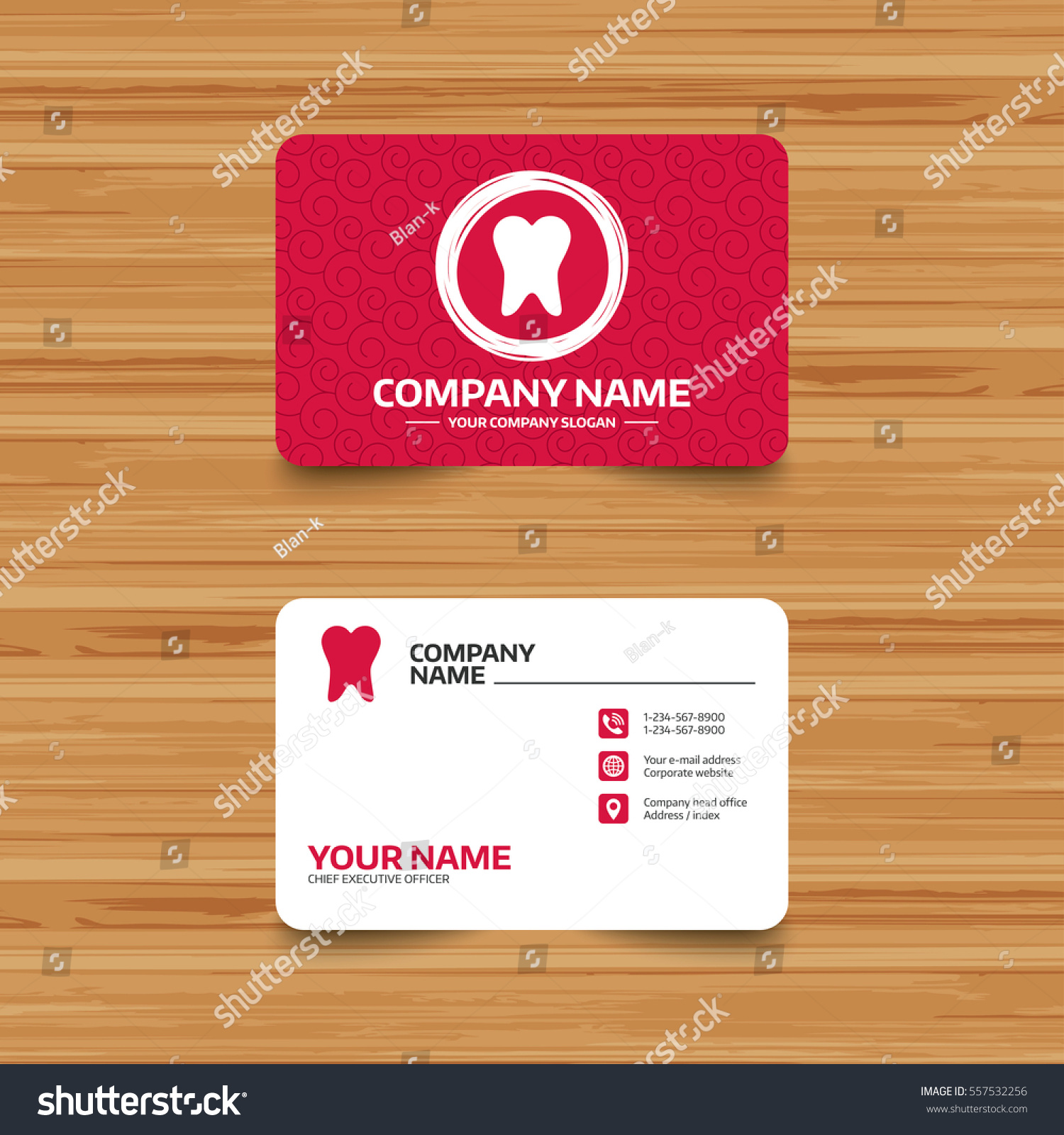 business card template texture tooth sign stock vector