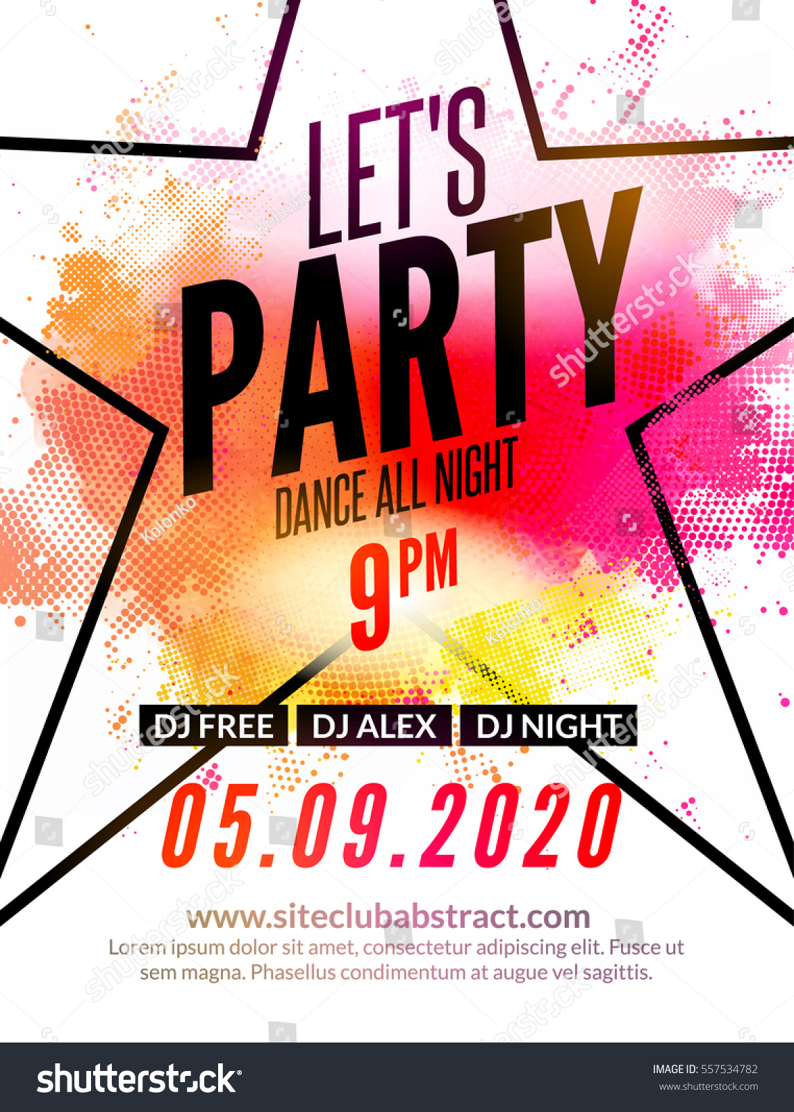 lets party design poster night club stock vector 557534782 shutterstock. Black Bedroom Furniture Sets. Home Design Ideas