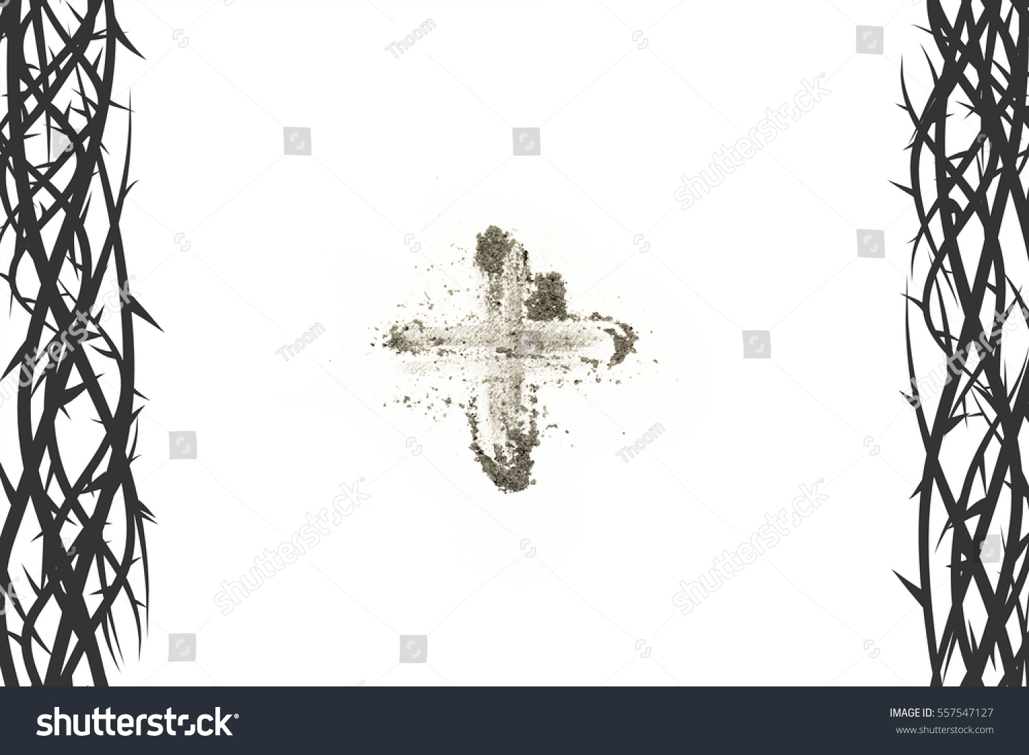 Cross made ashes ash wednesday lent stock illustration 557547127 cross made of ashes ash wednesday lent season vintage abstract background with thorns frame buycottarizona