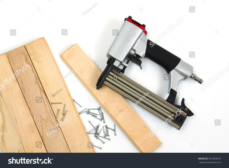 Working Pneumatic Nail Gun Air Nailer Stock Photo (Royalty Free ...