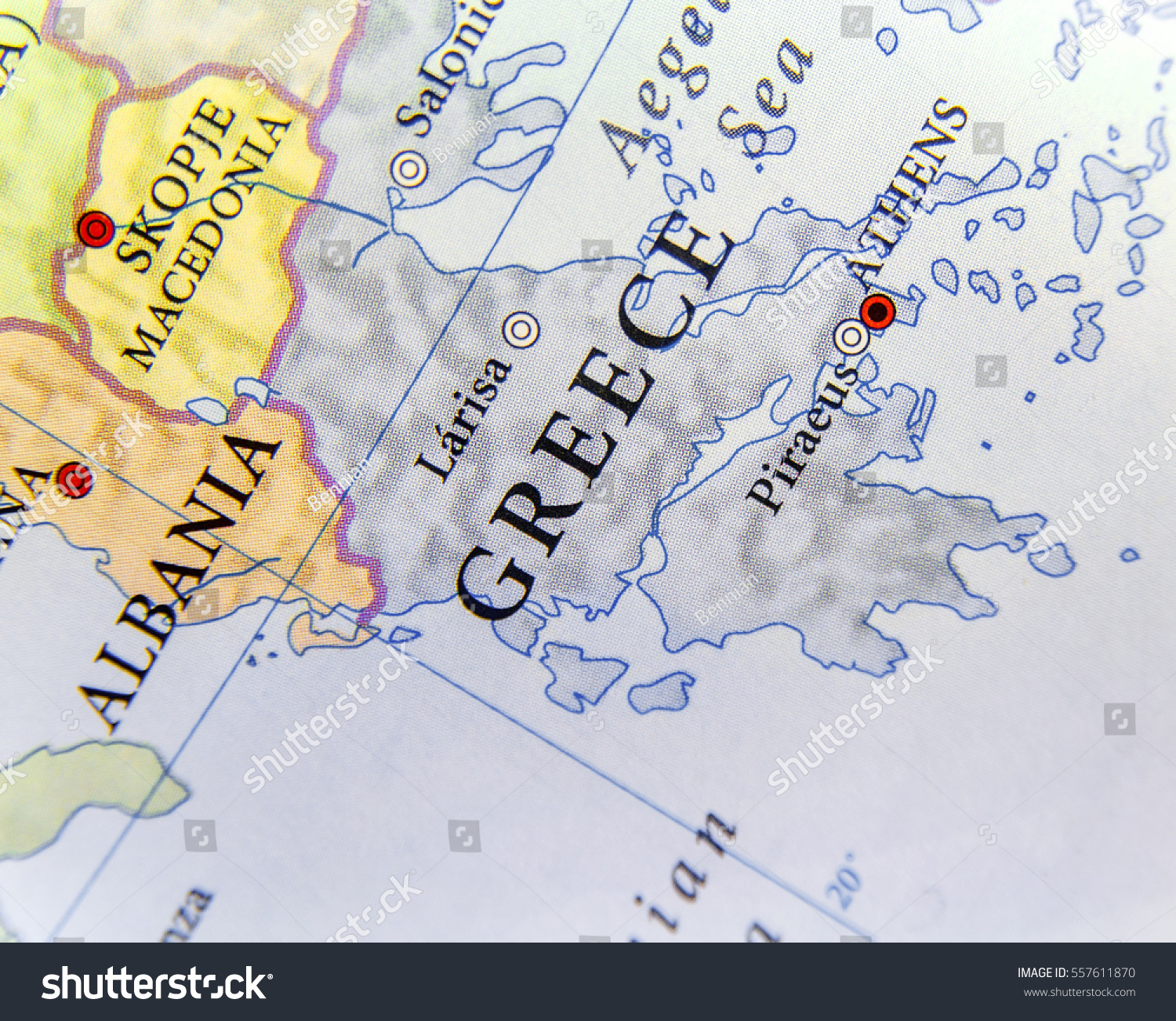 Geographic Map European Country Greece Important Stock Photo Edit Now 557611870