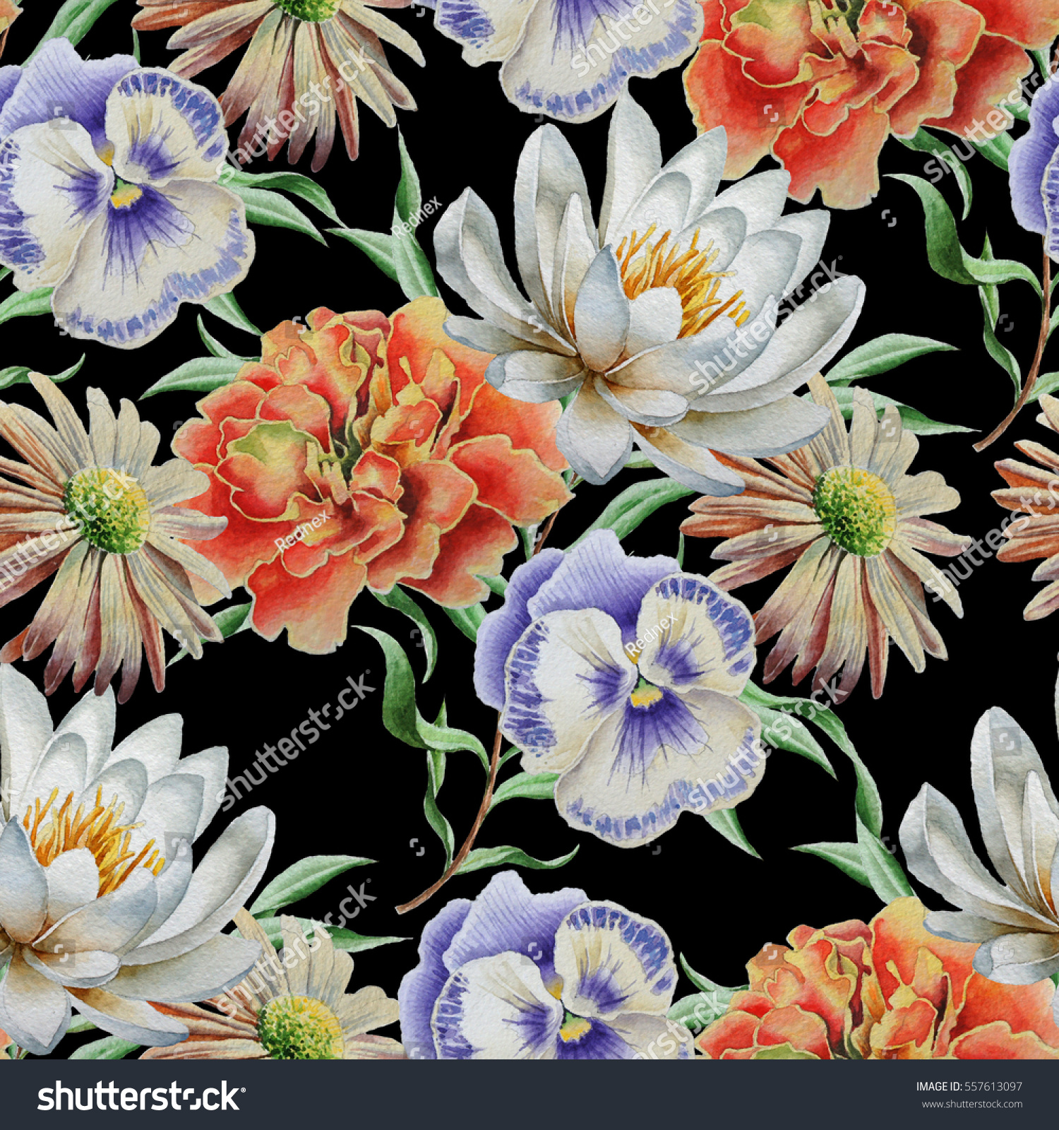 Seamless Pattern Flowers Lily Marigold Pansies Stock Illustration